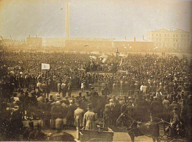 Chartist Meeting at Kennington Common April 10, 1848. Photograph taken by William Kilburn.
